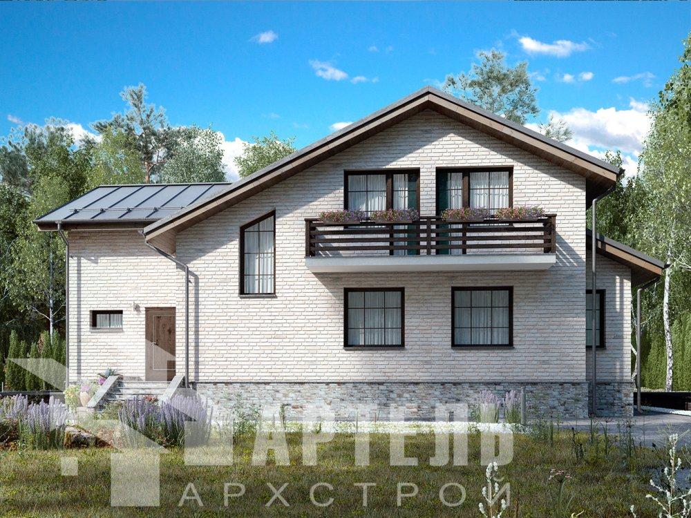 двухэтажный дом из камня площадью от 150 до 200 кв. м. с  балконом, эркером, проект Вариант 14 фотография 6397