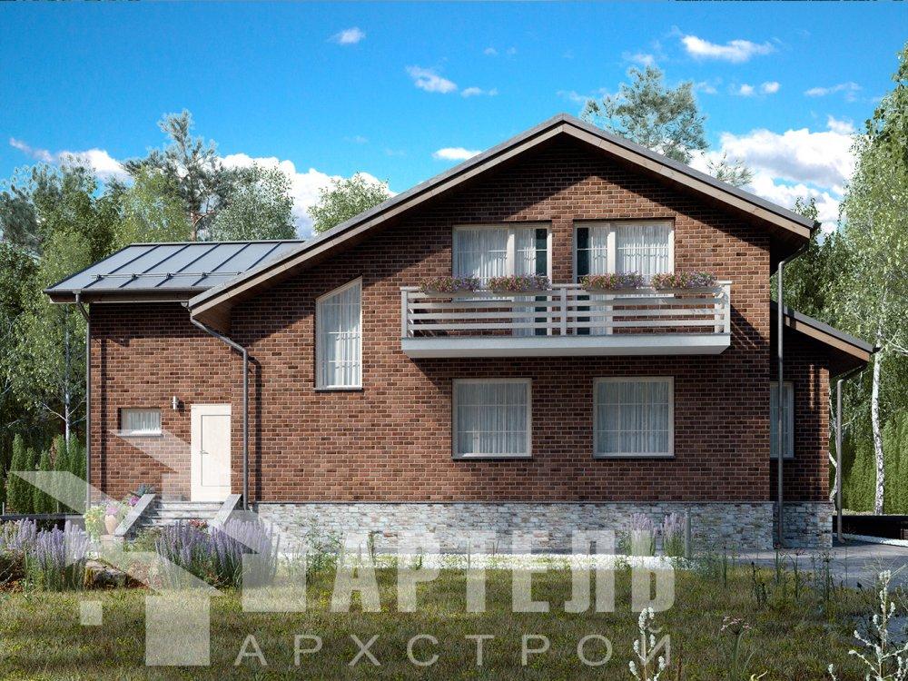 двухэтажный дом из камня площадью от 150 до 200 кв. м. с  балконом, эркером, проект Вариант 14 фотография 6399