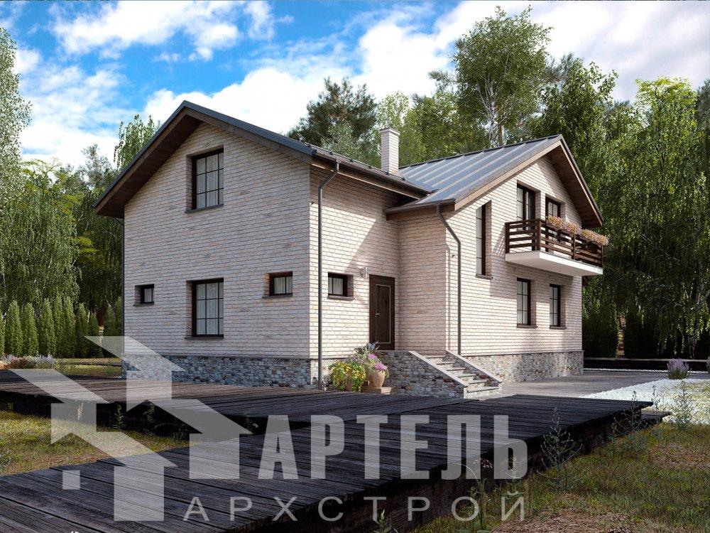 двухэтажный дом из камня площадью от 150 до 200 кв. м. с  балконом, эркером, проект Вариант 14 фотография 6398