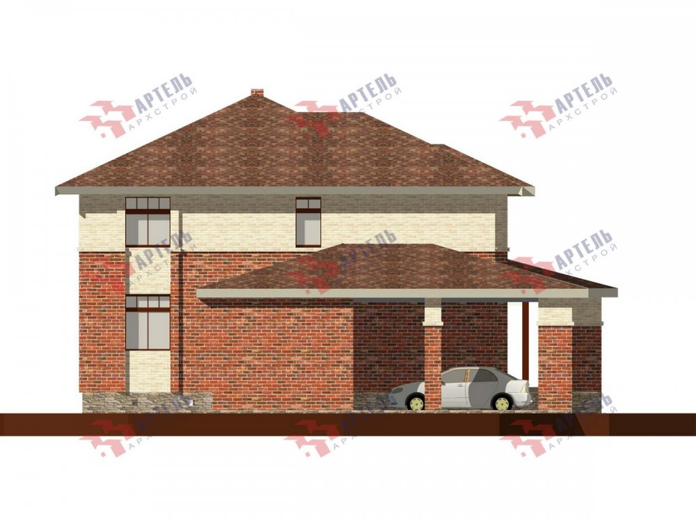 двухэтажный дом омбинированные дома площадью свыше 200 кв. м., проект Вариант 18,4А Камень и Комбинированный фотография 6069