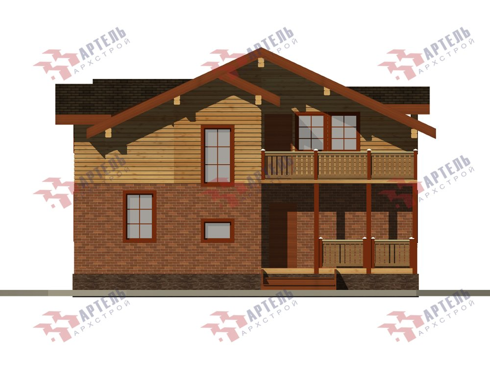 двухэтажный дом из профилированного бруса площадью свыше 200 кв. м., проект Вариант 26 фотография 6219