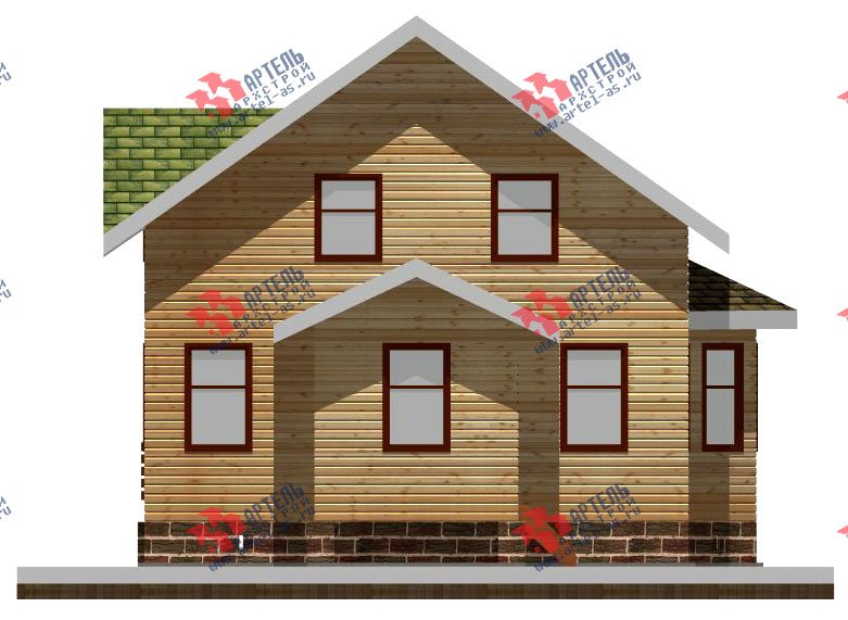 двухэтажный дом из профилированного бруса площадью от 100 до 150 кв. м. с  балконом, мансардой, эркером, проект Вариант 10 И фотография 2350