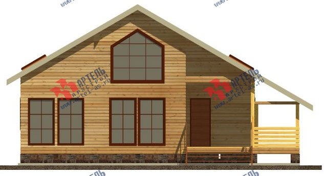 двухэтажный дом из бруса площадью от 150 до 200 кв. м. с  мансардой, террасой, эркером, проект Вариант 14 В фотография 2339