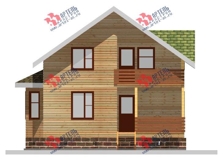 двухэтажный дом из профилированного бруса площадью от 100 до 150 кв. м. с  балконом, мансардой, эркером, проект Вариант 10 И фотография 2351