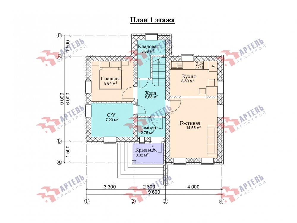 двухэтажный дом омбинированные дома площадью от 100 до 150 кв. м. с  эркером, проект Вариант 9 фотография 5996