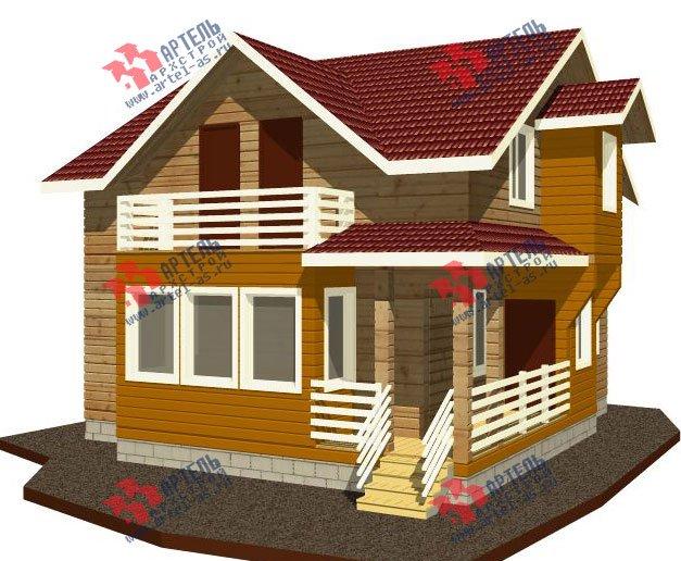 двухэтажный дом из профилированного бруса камерной сушки площадью от 100 до 150 кв. м. с  балконом, мансардой, террасой, проект Вариант 1 фотография 2517