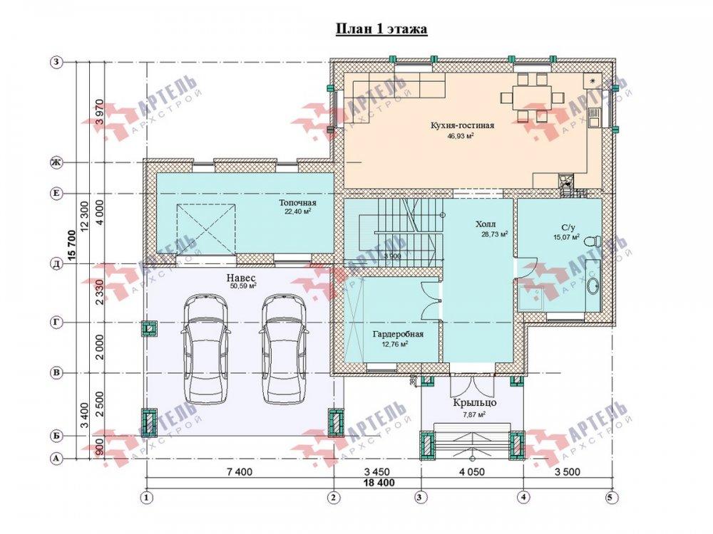 двухэтажный дом омбинированные дома площадью свыше 200 кв. м., проект Вариант 18,4А Камень и Комбинированный фотография 6079