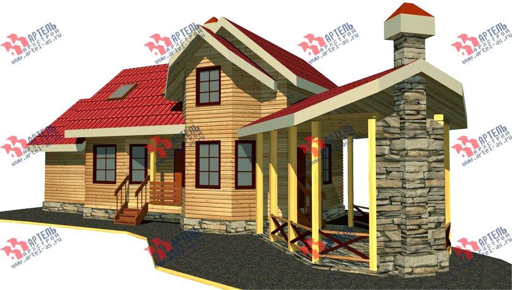 двухэтажный дом из профилированного бруса площадью от 100 до 150 кв. м. с  мансардой, террасой, эркером, проект Вариант 6.7 Б фотография 2472