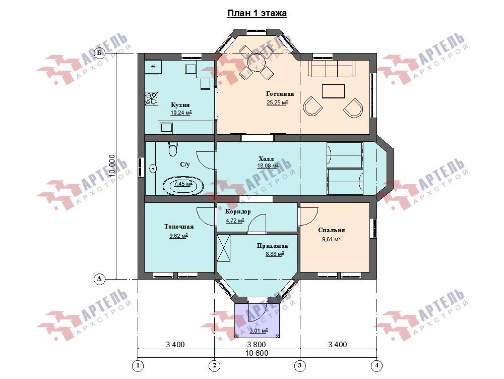 двухэтажный дом омбинированные дома площадью свыше 200 кв. м. с  эркером, проект Вариант 10,6К Камень и Комбинированный фотография 6276