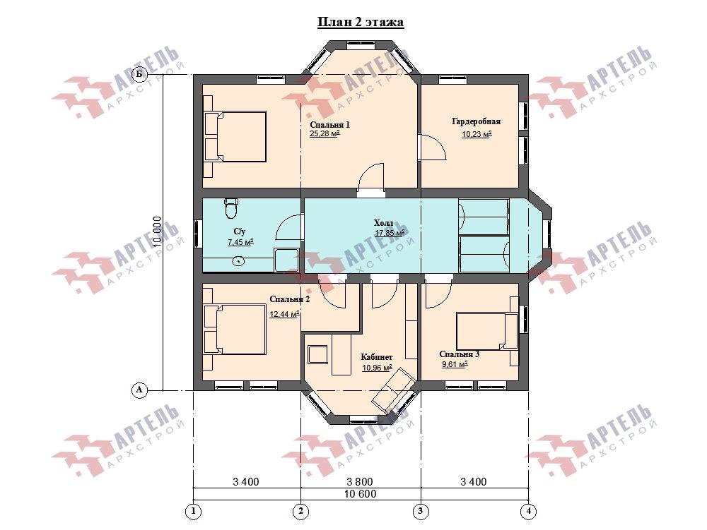 двухэтажный дом омбинированные дома площадью свыше 200 кв. м. с  эркером, проект Вариант 10,6К Камень и Комбинированный фотография 6277