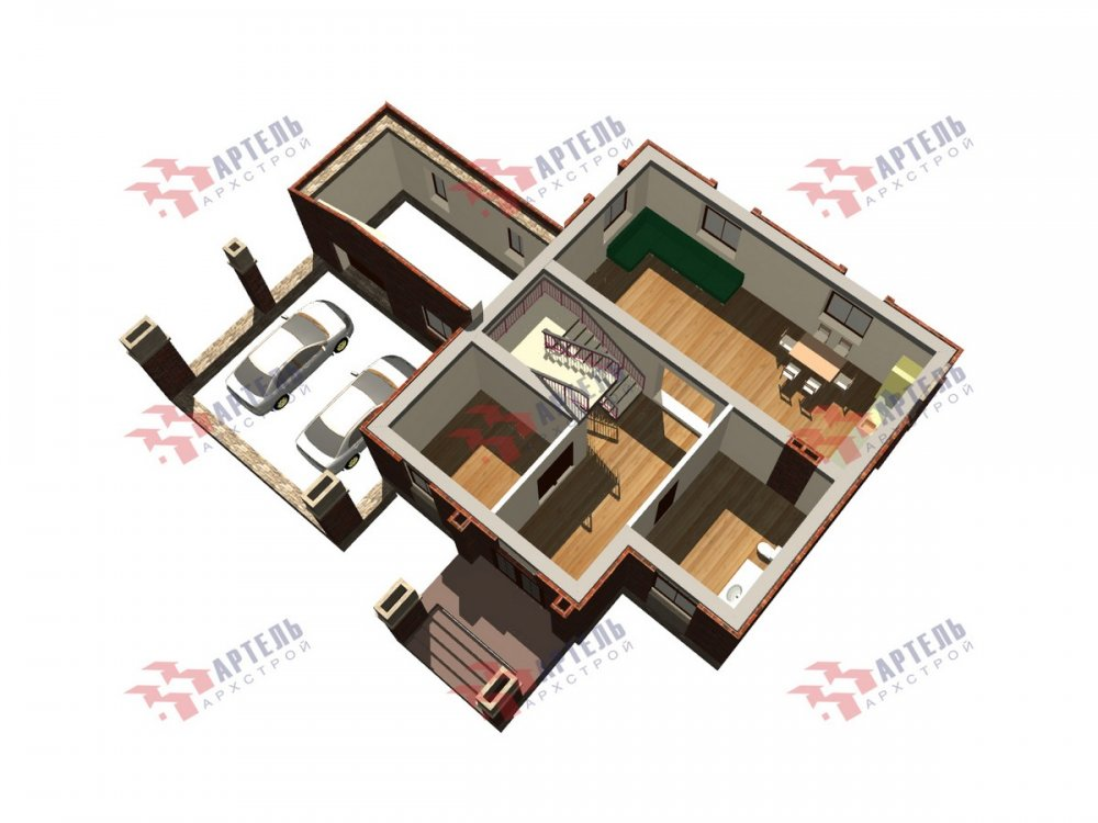 двухэтажный дом омбинированные дома площадью свыше 200 кв. м., проект Вариант 18,4А Камень и Комбинированный фотография 6081