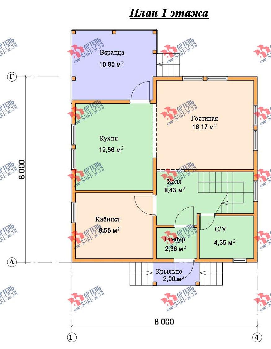 двухэтажный дом из бруса площадью от 100 до 150 кв. м. с  балконом, мансардой, террасой, проект Вариант 8 М фотография 2376