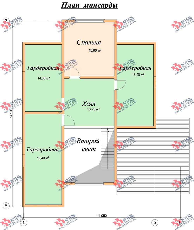двухэтажный дом из бруса площадью от 150 до 200 кв. м. с  мансардой, террасой, эркером, проект Вариант 14 В фотография 2344