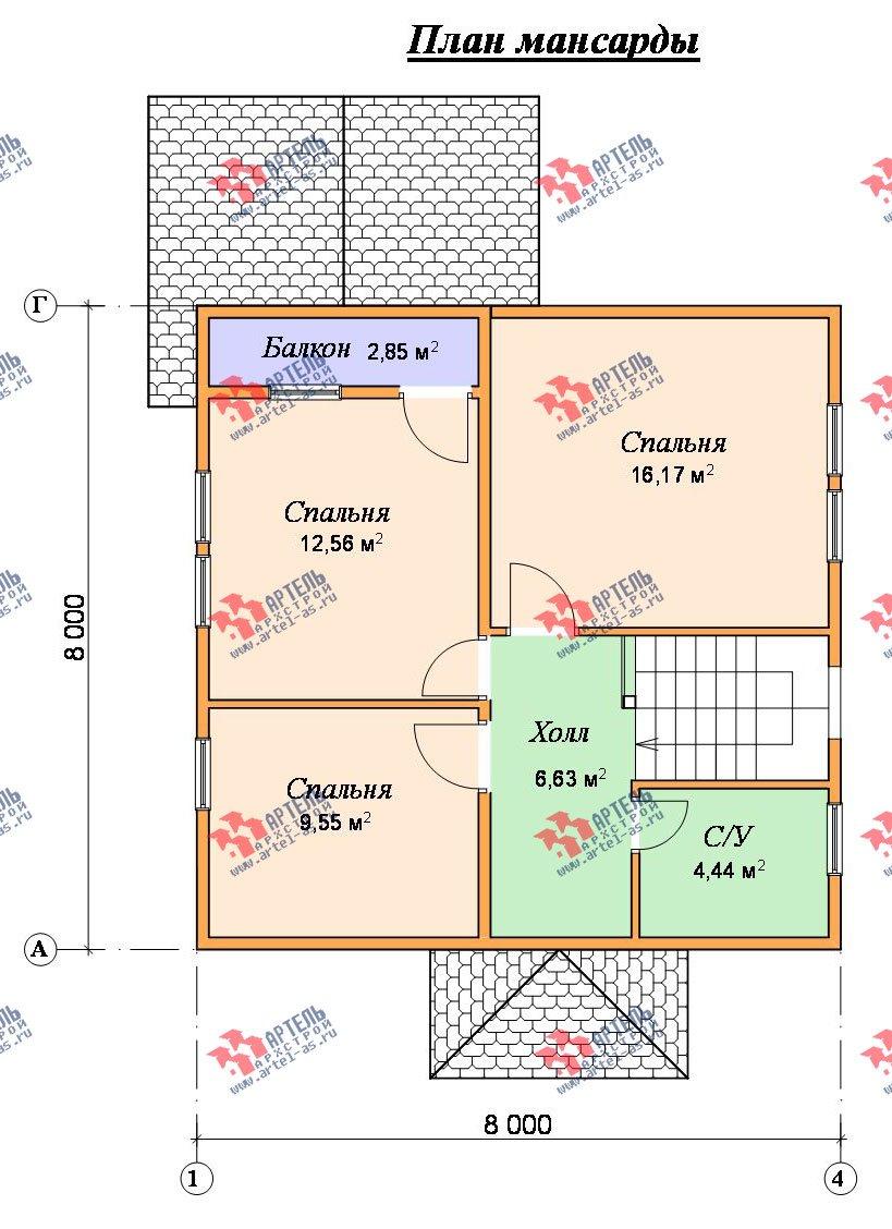 двухэтажный дом из бруса площадью от 100 до 150 кв. м. с  балконом, мансардой, террасой, проект Вариант 8 М фотография 2377