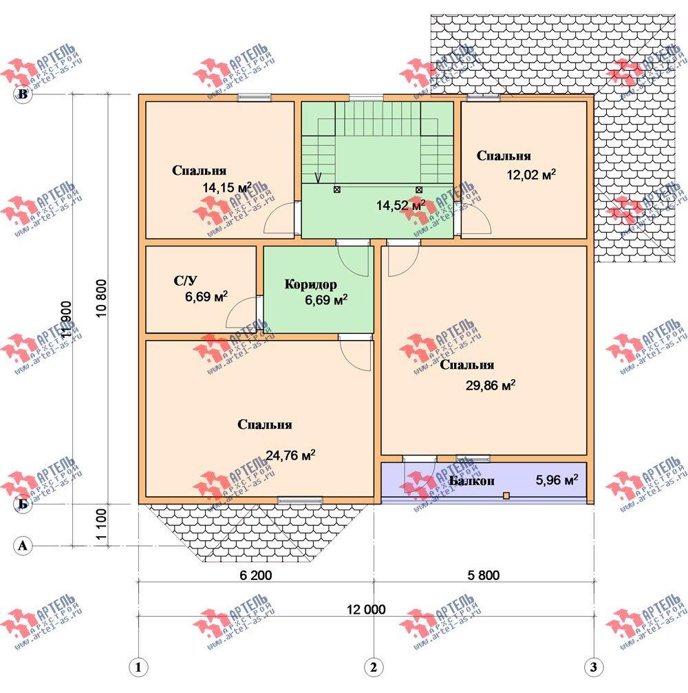 двухэтажный дом из бруса площадью свыше 200 кв. м. с  балконом, мансардой, террасой, эркером, проект Вариант 13 Г фотография 2411