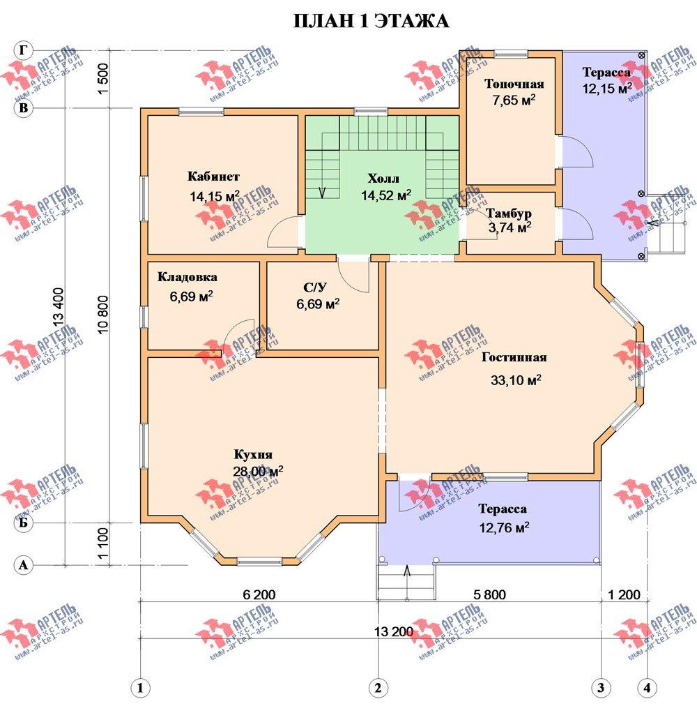 двухэтажный дом из бруса площадью свыше 200 кв. м. с  балконом, мансардой, террасой, эркером, проект Вариант 13 Г фотография 2410