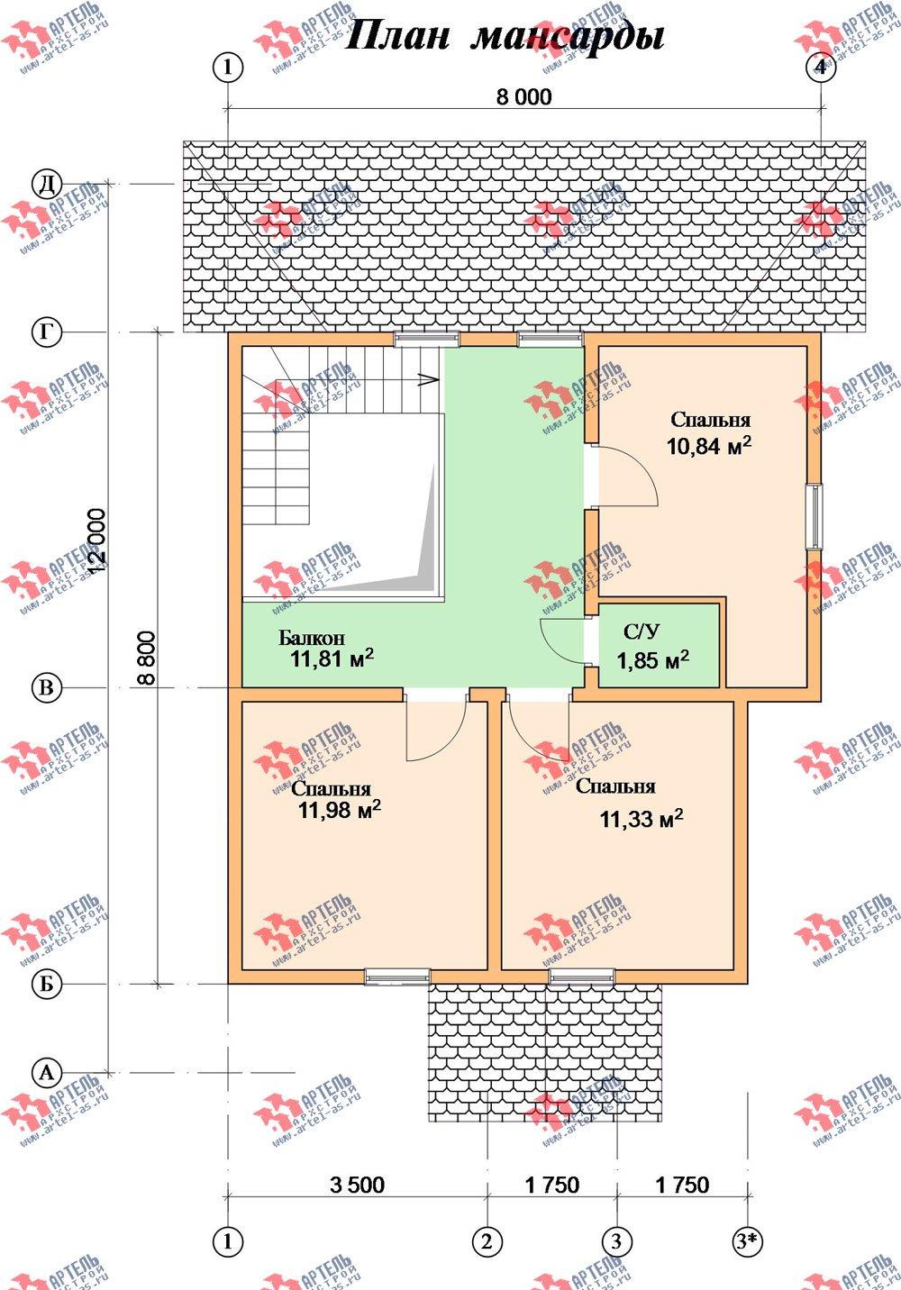 двухэтажный дом из профилированного бруса площадью от 100 до 150 кв. м. с  мансардой, террасой, проект Вариант 8.8 Б фотография 2559