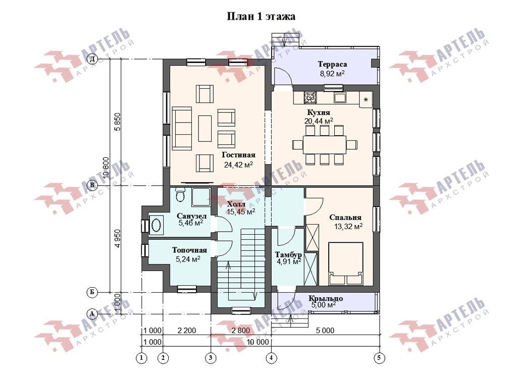 двухэтажный дом омбинированные дома площадью от 150 до 200 кв. м. с  балконом, эркером, проект Вариант 26 Камень и Комбинированный фотография 6234