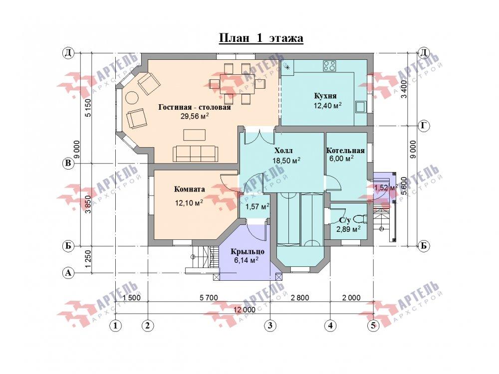 двухэтажный дом из камня площадью от 150 до 200 кв. м. с  балконом, эркером, проект Вариант 25 фотография 6447