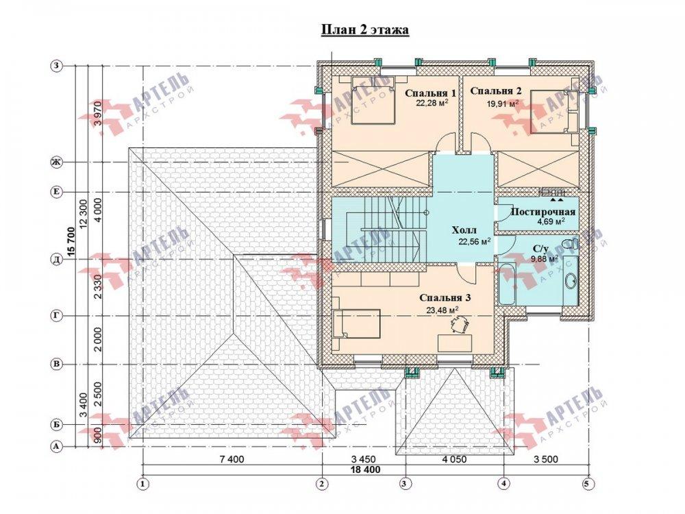 двухэтажный дом омбинированные дома площадью свыше 200 кв. м., проект Вариант 18,4А Камень и Комбинированный фотография 6080