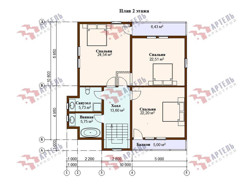двухэтажный дом омбинированные дома площадью от 150 до 200 кв. м. с  балконом, эркером, проект Вариант 26 Камень и Комбинированный фотография 6235