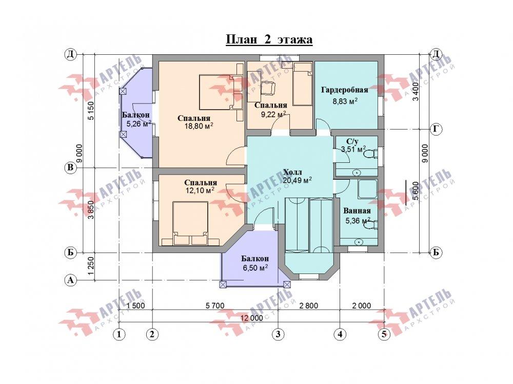 двухэтажный дом из камня площадью от 150 до 200 кв. м. с  балконом, эркером, проект Вариант 25 фотография 6448