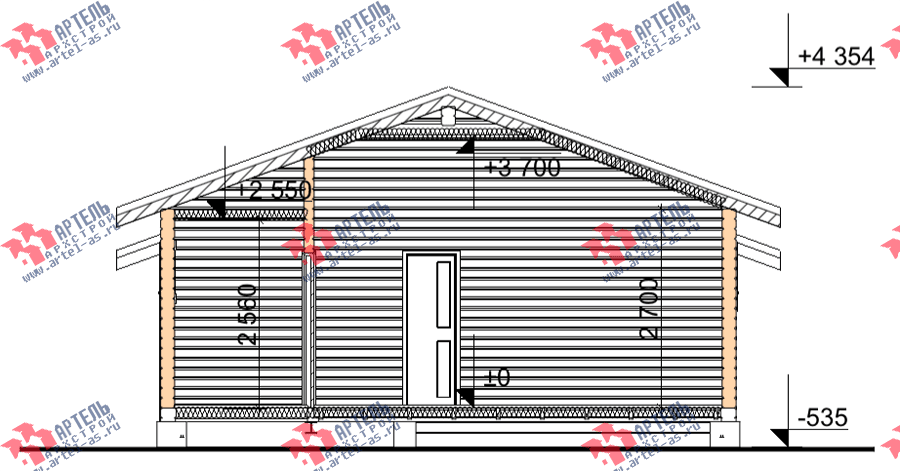 одноэтажный дом из профилированного бруса площадью от 100 до 150 кв. м., проект Вариант 7.8 Б фотография 3540