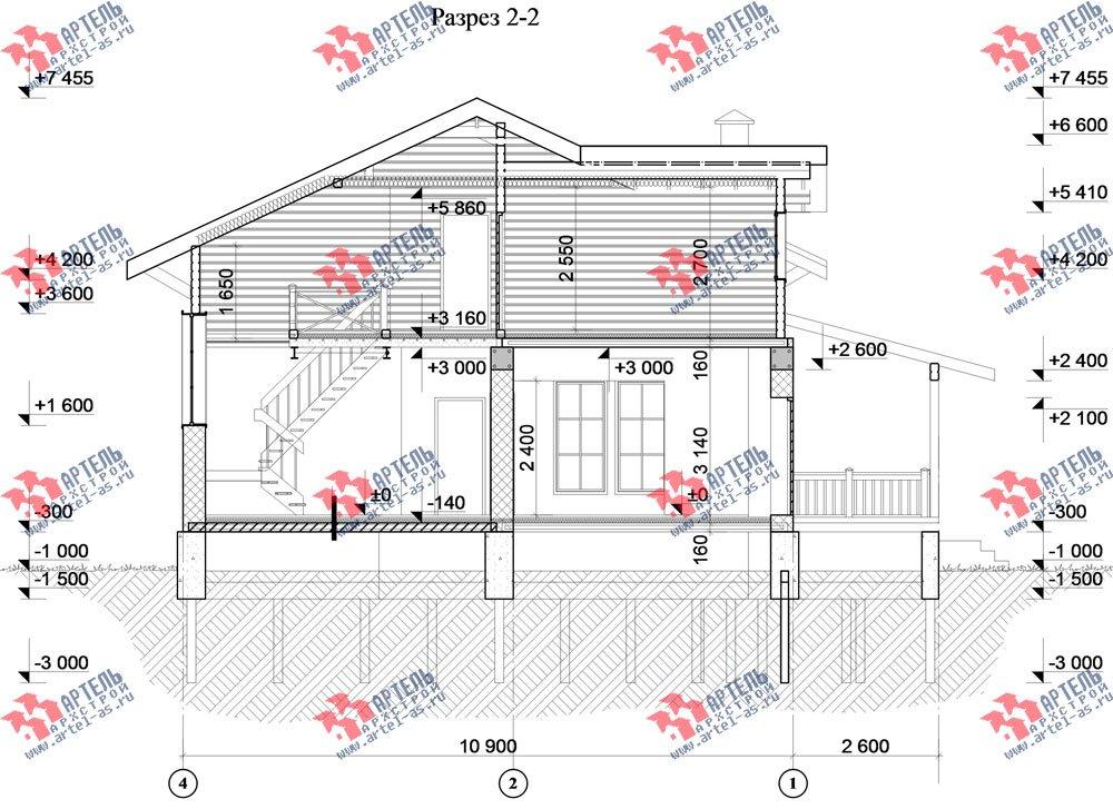 двухэтажный дом из камня площадью свыше 200 кв. м. с  балконом, террасой, проект Вариант 27 фотография 2943