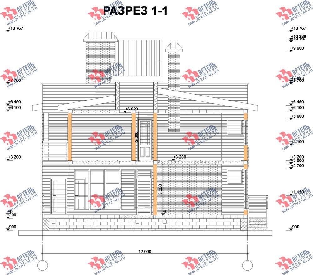 двухэтажный дом из профилированного бруса камерной сушки площадью свыше 200 кв. м. с  балконом, террасой, проект Вариант 3 фотография 2549