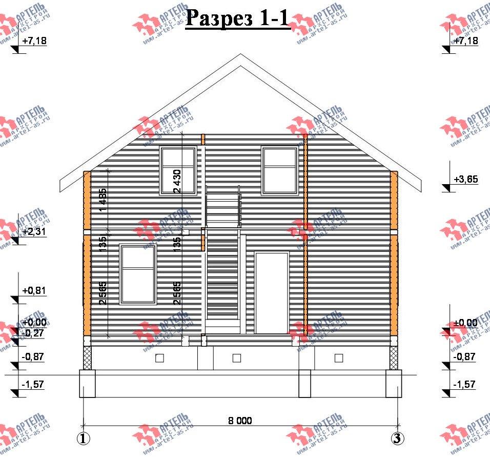 двухэтажный дом из профилированного бруса площадью от 100 до 150 кв. м. с  балконом, мансардой, эркером, проект Вариант 10 И фотография 2356
