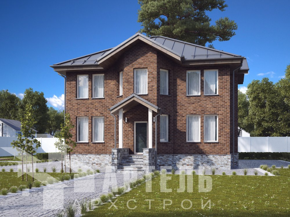 двухэтажный дом омбинированные дома площадью свыше 200 кв. м. с  эркером, проект Вариант 10,6К Камень и Комбинированный фотография 6311