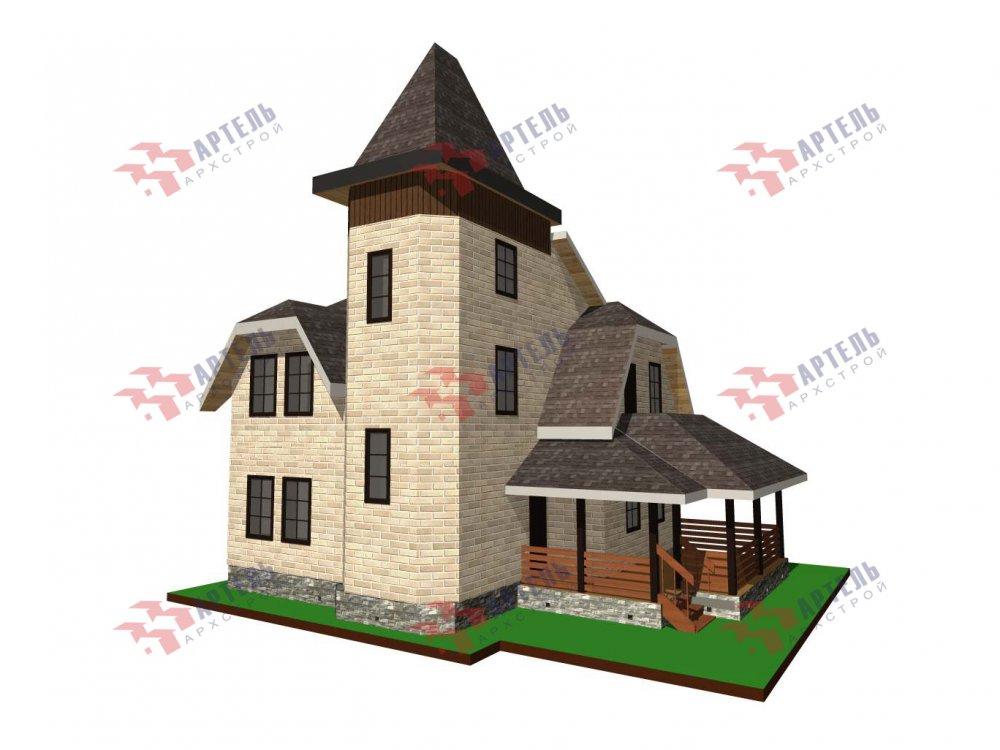 двухэтажный дом из камня площадью от 100 до 150 кв. м. с  балконом, террасой, эркером, проект Вариант 5 фотография 6015