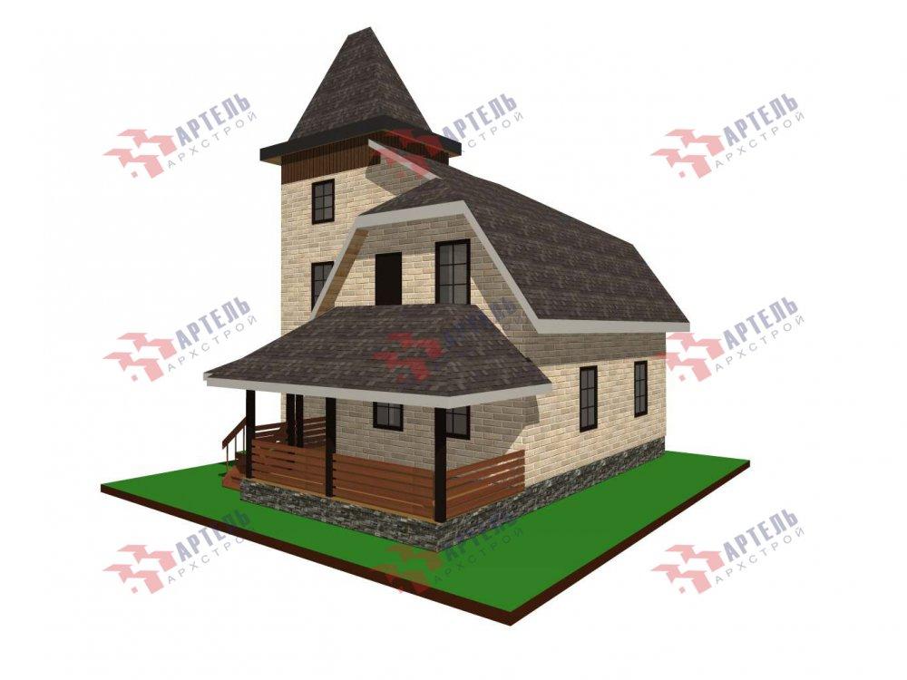 двухэтажный дом из камня площадью от 100 до 150 кв. м. с  балконом, террасой, эркером, проект Вариант 5 фотография 6001