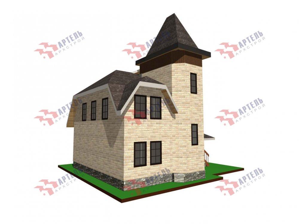 двухэтажный дом из камня площадью от 100 до 150 кв. м. с  балконом, террасой, эркером, проект Вариант 5 фотография 6002