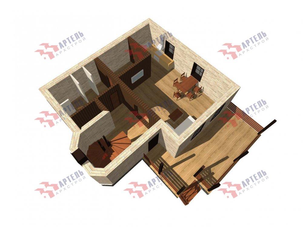 двухэтажный дом из камня площадью от 100 до 150 кв. м. с  балконом, террасой, эркером, проект Вариант 5 фотография 6003