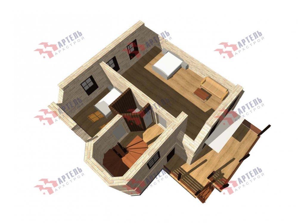 двухэтажный дом из камня площадью от 100 до 150 кв. м. с  балконом, террасой, эркером, проект Вариант 5 фотография 6004