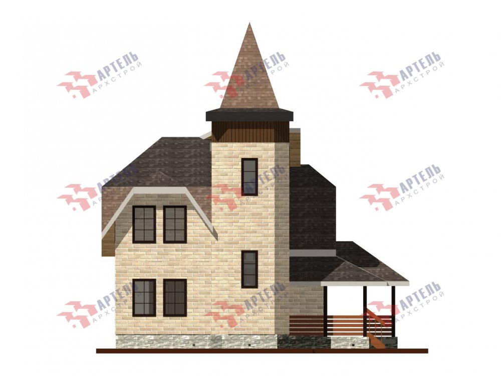 двухэтажный дом из камня площадью от 100 до 150 кв. м. с  балконом, террасой, эркером, проект Вариант 5 фотография 6005