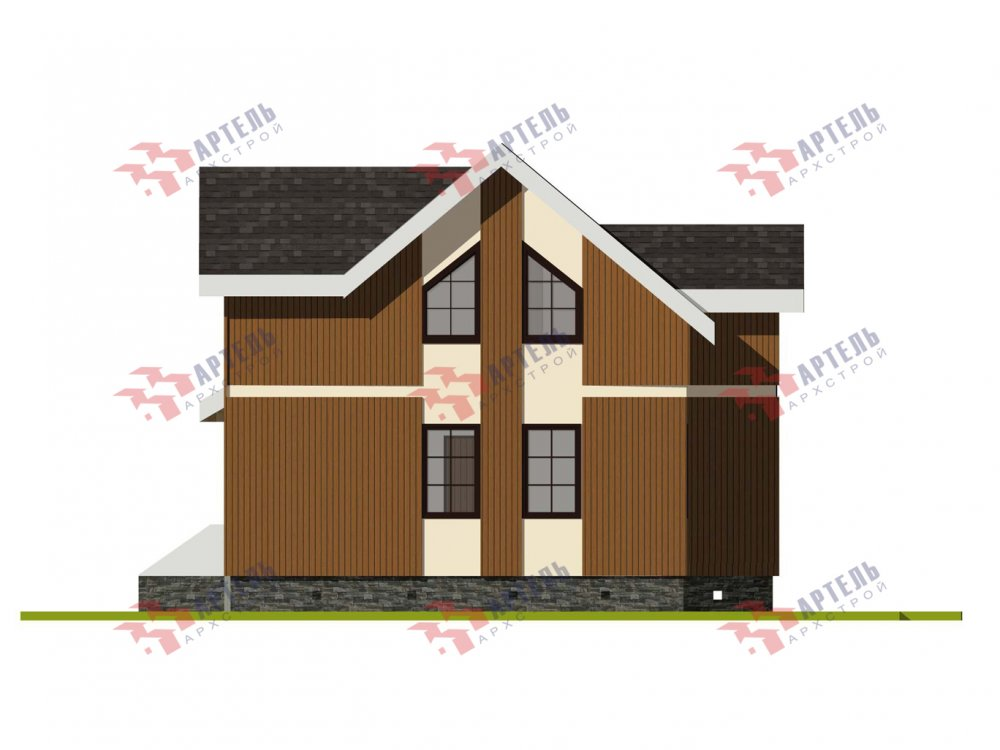 двухэтажный дом омбинированные дома площадью от 100 до 150 кв. м. с  эркером, проект Вариант 9 фотография 6012