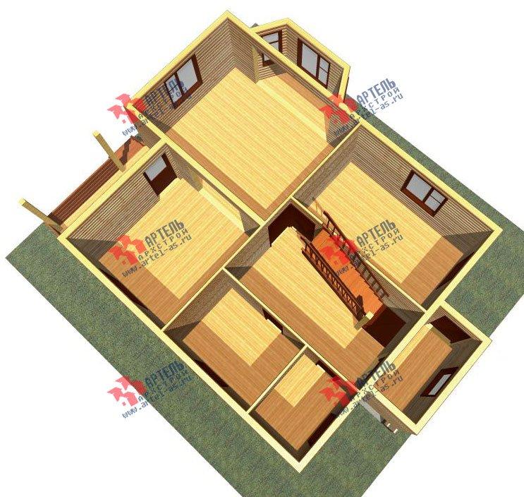 двухэтажный дом из профилированного бруса площадью от 100 до 150 кв. м. с  балконом, мансардой, эркером, проект Вариант 10 И фотография 2348