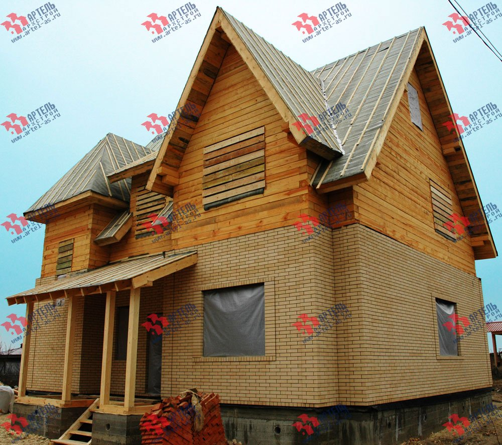 дом омбинированные дома построенный по проекту Вариант 10.2 А Камень и Комбинированный фотография 5698