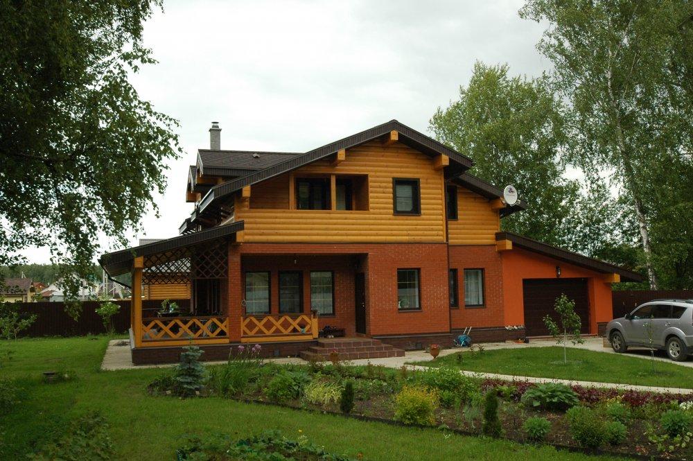 дом омбинированные дома построенный по проекту Вариант 10.8 А Камень и Комбинированный фотография 5687