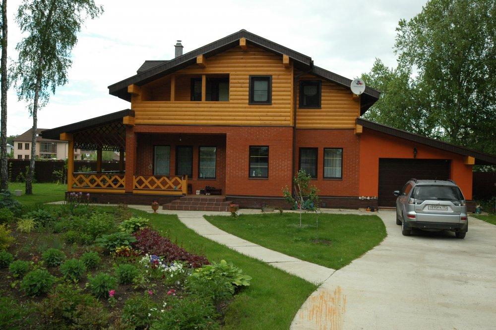 дом омбинированные дома построенный по проекту Вариант 26 Камень и Комбинированный фотография 5707