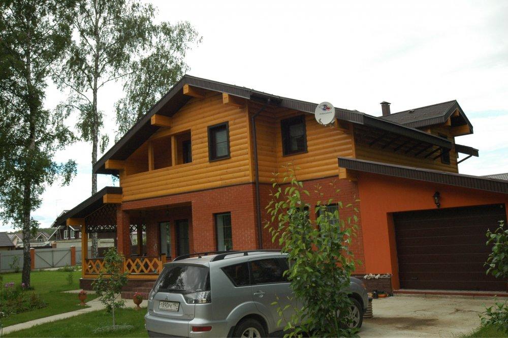 дом омбинированные дома построенный по проекту Вариант 26 Камень и Комбинированный фотография 5708