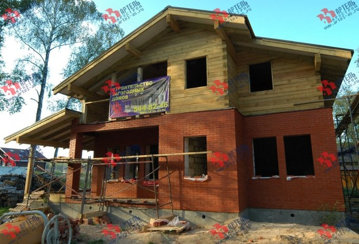 дом омбинированные дома построенный по проекту Вариант 10.8 А Камень и Комбинированный фотография 5690