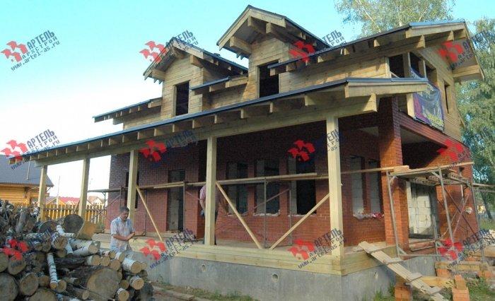 дом омбинированные дома построенный по проекту Вариант 26 Камень и Комбинированный фотография 5710