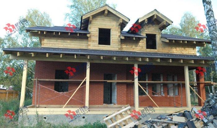 дом омбинированные дома построенный по проекту Вариант 26 Камень и Комбинированный фотография 5711