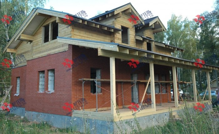 дом омбинированные дома построенный по проекту Вариант 26 Камень и Комбинированный фотография 5712