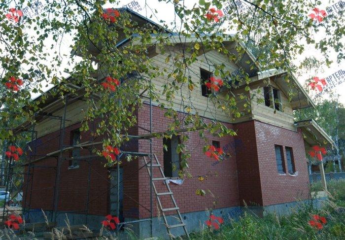 дом омбинированные дома построенный по проекту Вариант 26 Камень и Комбинированный фотография 5713