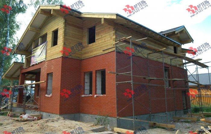 дом омбинированные дома построенный по проекту Вариант 26 Камень и Комбинированный фотография 5714
