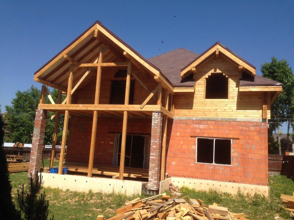 дом омбинированные дома построенный по проекту Вариант 12.8М Камень и Комбинированный фотография 5623